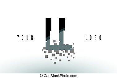 frantumato, ll, l, nero, lettera, digitale, logotipo, squadre, pixel