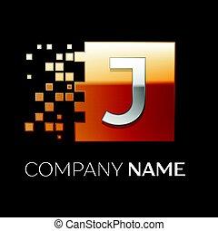 frantumato, quadrato, blocchi, colorito, simbolo, j, fondo., vettore, nero, lettera, logotipo