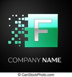 frantumato, quadrato, blocchi, lettera, colorito, f, simbolo, argento, fondo., vettore, disegno, sagoma, logotipo, verde, tuo, nero