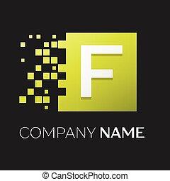 frantumato, quadrato, blocchi, lettera, colorito, f, simbolo, fondo., vettore, disegno, sagoma, logotipo, nero, tuo