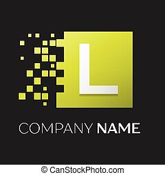 frantumato, quadrato, blocchi, lettera, colorito, simbolo, l, fondo., vettore, disegno, sagoma, logotipo, nero, tuo