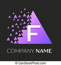 frantumato, triangolo, lettera, colorito, f, simbolo, realistico, vettore, disegno, fondo., sagoma, logotipo, blocchi, tuo, nero