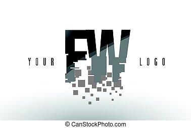 frantumato, w, fw, f, nero, lettera, digitale, logotipo, squadre, pixel