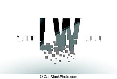 frantumato, w, l, lw, nero, lettera, digitale, logotipo, squadre, pixel
