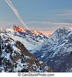 französische alpen, an, sonnenuntergang