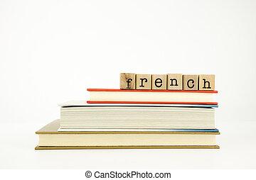 französische sprache, wort, auf, holz, briefmarken, und,...