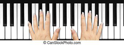 franzoesisch, manicured, nägel, auf, tastatur
