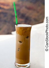 Frappe on a cafe table in Thira, Santorini, Greece