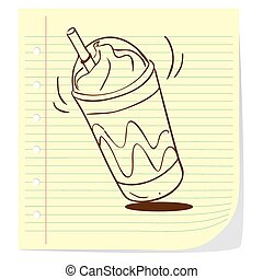 frappe, scarabocchiare, caffè