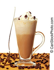 Frappe with coffee beans in white