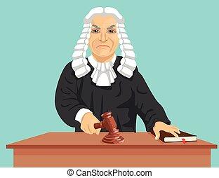 frappement, marques, fâché, marteau, verdict, droit & loi, juge