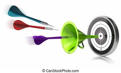 frapper, centre, entonnoir, sur, trois, aidé, arrière-plan vert, dards, blanc, image, cible