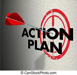 frapper, cible, foyer, but, action, plan, flèche, objectif, but