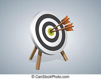 frapper, cible, vecteur, flèches, illustration