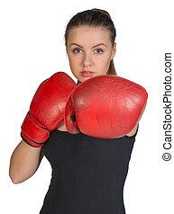 frapper, femme, boxe, pose, gloves.