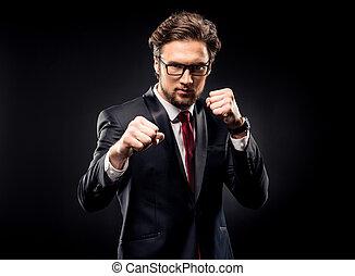 frapper, homme affaires, agressif