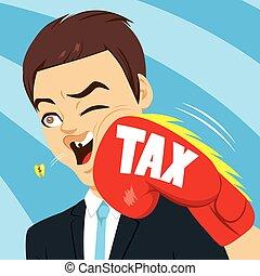 frapper, homme affaires, impôts