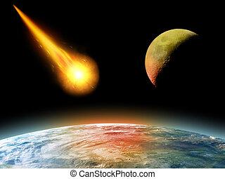 frapper, la terre, astéroïde, brûlé
