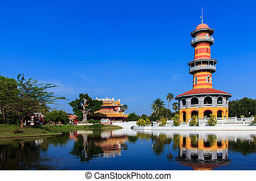frapper palais douleur, dans, phra nakhon si ayutthaya