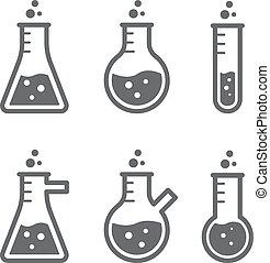 frasco, laboratórios, esboços