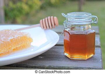 frasco miel, delicioso, panal