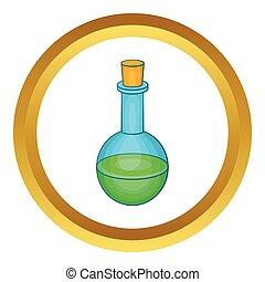 frasco, poción, verde,  vector, icono