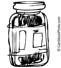 frasco vidro, fechado