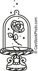 frasco, vidro, linha, vetorial, rosa