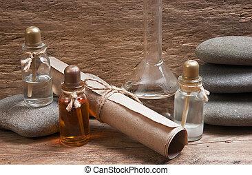 frascos, aceites, fragancia, laboratorio, perfume