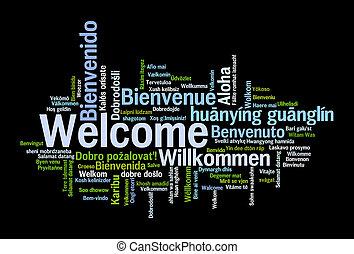frase, concepto, palabras, nube, bienvenida
