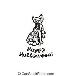 frase, gato, desenhado, dia das bruxas, mão