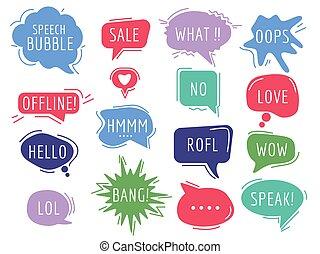 frase, handdrawn, tags., bolle, testo, cartone animato, comunicazione, discorso, umore, suono, palloni, vettore
