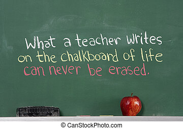 frase, insegnante, inspirational, apprezzamento