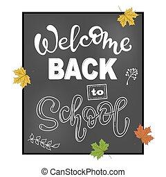 frase, lettering, welkom, school., back