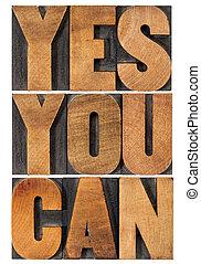 frase, sí, usted, motivación, lata