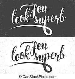 frase, u, blik, superb., kalligrafie, cadeau, handmade.,...