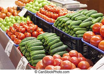 frash, frukt, och, grönsaken
