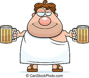 Frat Boy - A happy cartoon frat boy with two beers.