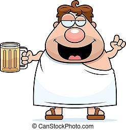 Frat Boy Drunk - A happy cartoon frat boy looking drunk and...