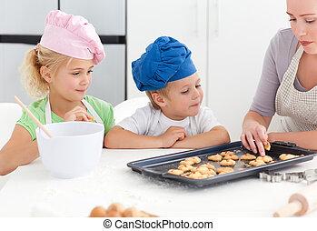 fratelli, e, loro, madre, assaggio, loro, biscotti