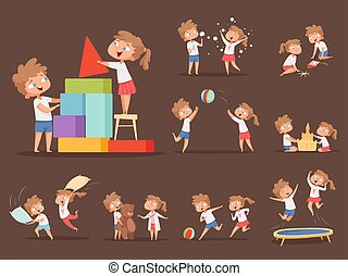 fratello, bambini, cartone animato, games., sorella, gioco, famiglia, giocoso, insieme, caratteri, correndo, saltare, battaglia, ragazza, cuscino, vettore, ragazzo
