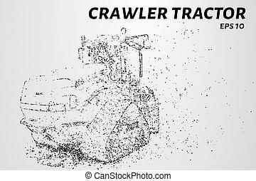 fraturas, ilustração, particles., baixo, vetorial, maquinaria, agrícola, pequeno, molecules., trator, crawler