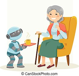 frau, älter, roboter, assistieren, eldercare