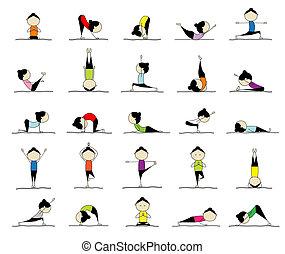 frau, üben, joga, 25, posen, für, dein, design