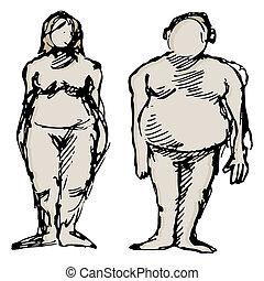 frau, übergewichtiger mann