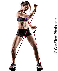 frau, übung, kern, boxen, freigestellt, workout, aerobik, fitness, cardio, kreuz