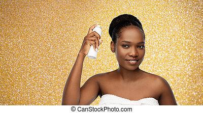 frau, afrikanisch, haarspray, junger