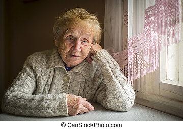 frau, alleine, sitzt, senioren