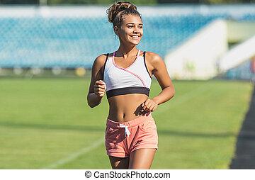 frau, athletische, jogging, junger, trainieren, spur, rennender