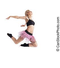 frau, athletische, junger, freigestellt, springen, tanz